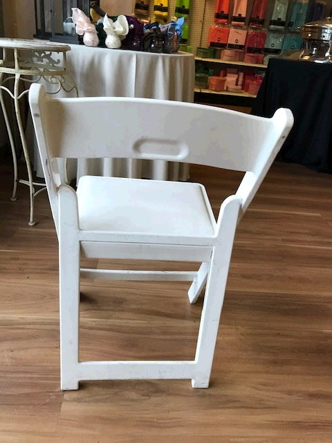 Where to find CHAIR, White Padded Resin in Medford